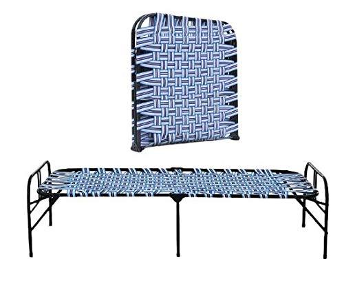 CASSAFLIP Portable Heavy Duty Folding Bed for Kids Student Single Metal Bed Frame Single Size with Unique Design Sturdy Metal Frame Slat Support Platform Bed for Guest Room (Niwar Bed)