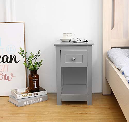Woodluv MDF Bedside Table with Drawer & Shelf Cabinet Storage Unit - 28 x 31 x 45cm, Grey