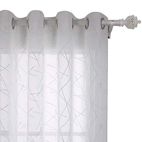 Deconovo Tende Trasparenti in Voile Ricamate per Cucina con Anelli 140x290cm Bianco 2 Pannelli