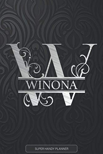 Winona: Monogram Silver Letter W The Winona Name - Winona Name Custom Gift Planner Calendar Notebook Journal