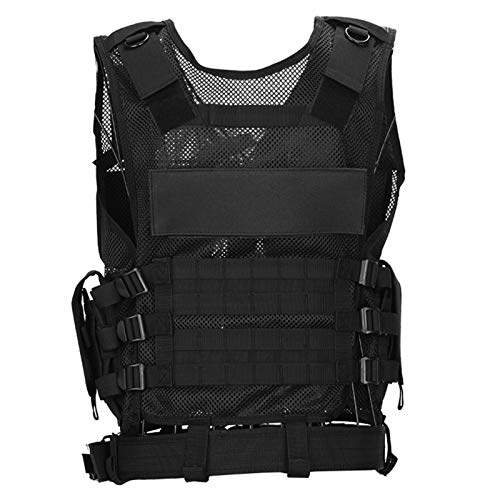 Dhouse Camouflage Tactical Military Vest Security Guard Vest CS Field Training Military Army Camping Hunting Vest Outdoor Security Game Vest Jacket Black