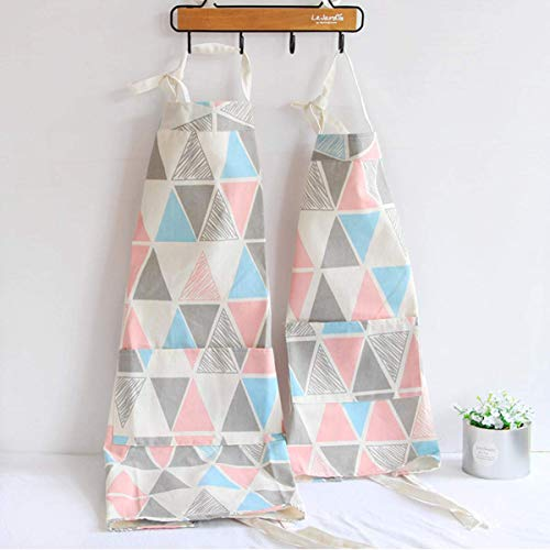 2 Pack Cotton Blend Parent and Child Apron, Creative Artist Apron with Pockets Great Helper in Daily Life, Matching for Adult and Kid Cooking,Baking,Painting, Gardening