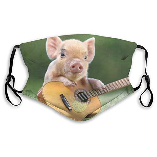 IUBBKI Litttle Pig Play Gitarre Mundabdeckung Unisex Wiederverwendbare waschbare Gesichtsabdeckung CreativeforFace Scarf Bandana mit Zwei Filtern