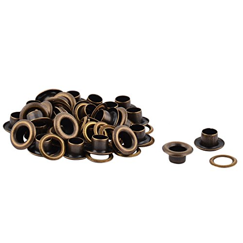 uxcell Metal Cloth Bag Craft Machine Grommet Washer Hole Eyelet Hollow Rivet 30 PCS Bronze Tone