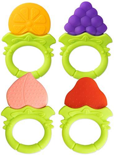 4 Baby Beißringe Freche Früchtchen - Sicher & BPA-frei - aus hygienischem Silikon - Obst Kau-Spielzeug Greifling Kühlend Beissring Zahnungshilfe Schmerzlinderung Zahnen