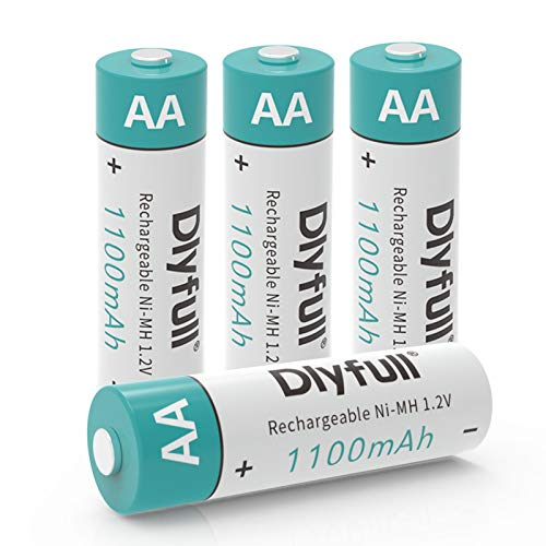 Dlyfull Pack of 4 AA Batteries 1100mAh High Capacity Precharged Ni-MH AA Rechargeable Batteries