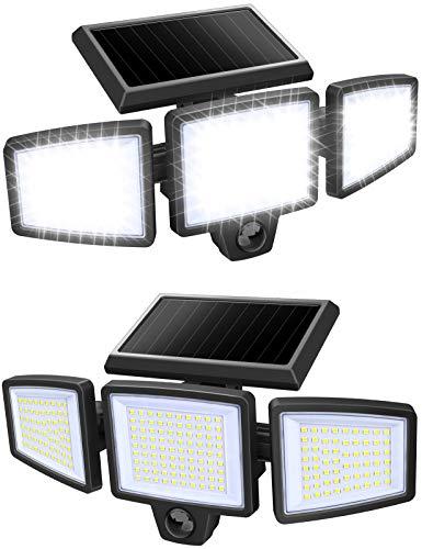 Solarleuchte für Außen 2 Stück, 210 LEDs Solarlampe Außen mit Bewegungsmelder, Wasserdichte Solar Wandleuchte Garten LED Außenwandleuchten