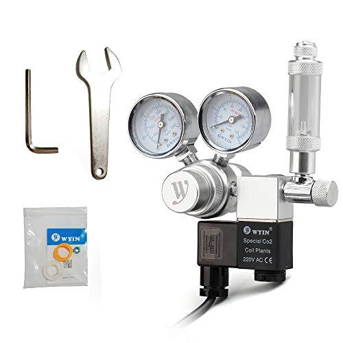 Weehey Voltaje de Salida de 12V Acuario Regulador de CO2 Regulador de presión de CO2 con solenoide Gran medidor de presión Doble Contador de Burbujas y válvula de retención para CO2 Aluminun