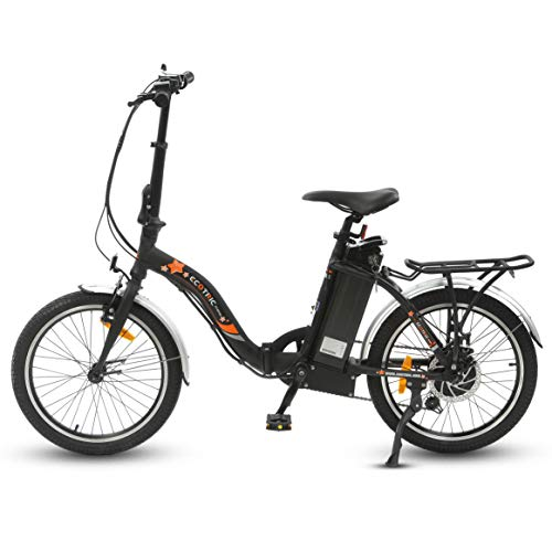 ECOTRIC 20' Folding Electric City Bicycle Ebike Alloy Frame 350W Gear Rear Motor 36V/12.5AH Removable Lithium Battery LED Display Pedal and Throttle Assist (Black) - UL Certified