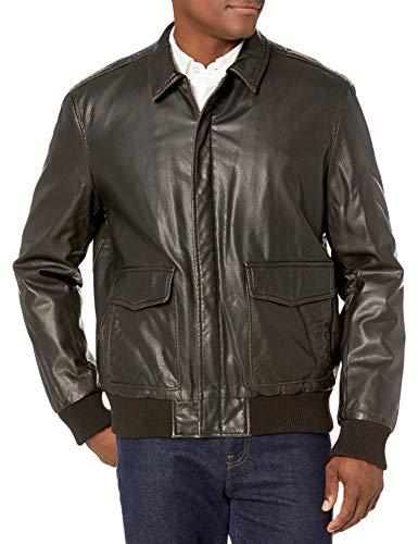 Dockers Men's Vintage Washed Leather Look Laydown Collar 2-Pkt Aviator, Dark Brown, L