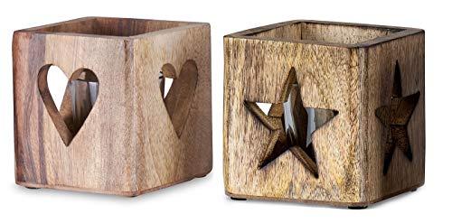 levandeo 2er Set Windlicht Stern Herz 9cm Mangoholz Teelicht Glaseinsatz Teelichthalter Kerze Sternmotiv Herzmotiv Mango Natur Holzdeko