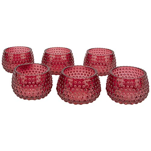 Koyal Wholesale 2' Tall Red Modern Hobnail Glass Candle Holders, Set of 6 Votives, Bulk Tealight Holders, Tablescapes, Wedding, Home Decor, Office, Restaurant, Table Setting Decorations
