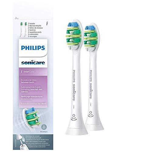Philips Sonicare Original Aufsteckbürste InterCare HX9002/10, bis zu 7x mehr Plaqueentfernung, RFID-Chip, Standard, 2er Pack, Weiß