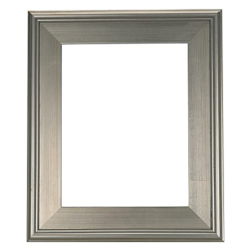 Creative Mark Plein Air Wooden Art Frame, Vintage Silver Leafed Imperfect Finish - Single Open Frame for Canvas Paintings 9x12 Inch, Silver