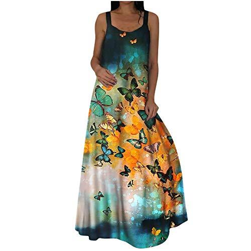 riou Vestido Largo de Tirantes con Estampado de Mariposa Vestido Largo Mujer Verano Talla Grande Casual Vestido Largo de Playa Verano Fiesta Vestido de Cóctel de Noche