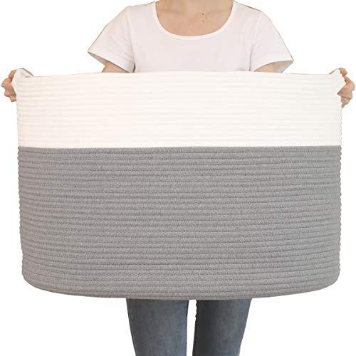 "24"" x 24"" x 17"" Max Size Large Cotton Rope Basket, Extra Large Storage Basket, Woven Laundry Hamper, Toy Storage Bin, for Blankets Clothes Toys Towels Pillows in Living Room, Baby Nursery, Grey"