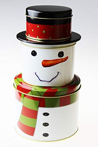 Kamaca 3 er Set Keksdosen dreistöckige Gebäckdosen praktisch und stillvoll zu Winter Advent Weihnachten (Schneemann)