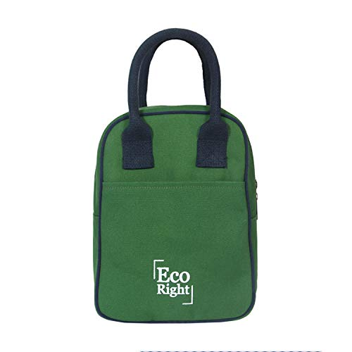 EcoRight Insulated Lunch Bag for Men, Women, Adults for Work   Cooler Lunch Box for Kids to School   Reusable Canvas Lunch Bags for Women   Army Green   0706