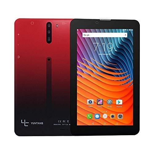 YUNTAB Smartphone tablet Android sbloccato da 7 pollici 3G , supporto doppia SIM, processore quad core da 1,3 GHz, ROM 16 GB di RAM da 1 GB, con WiFi, GPS e doppia fotocamera (rosso nero)