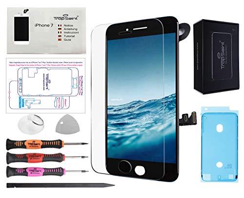 Trop Saint Pantalla Negro para iPhone 7 Completa Premium Kit de reparación LCD con Guía, Herramientas, Film Protector Pantalla y Pegatina Adhesiva Impermeable