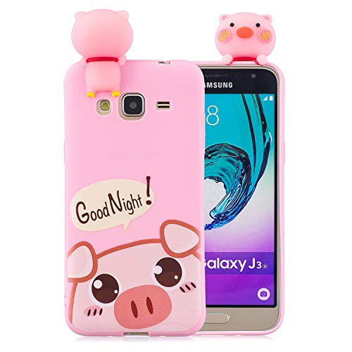 Funluna Funda Samsung Galaxy J3 2016, 3D Cerdo Patrón Ultra Delgado TPU Cover Suave Silicona Carcasa Gel Anti-Rasguño Protectora Espalda Bumper Case para Samsung Galaxy J3 2016, Rosa