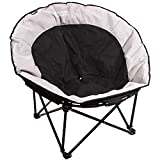 REDCAMP Oversized Moon Chairs for Adults, Comfy Portable Folding Saucer Chair for Bedroom Living Room Dorm, Black and Gray