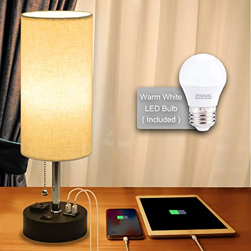 USB Bedside Lamp,Cotanic Modern Table Lamp with Charging Ports,Nightstand Lamps for Bedrooms,Cylindrical Minimalist Fabric Linen Desk Lamp Shade with Pull Chain