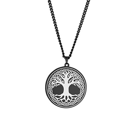LUSSO Family Tree Pendant Celtic World Tree of Life Necklace for Women Norse Vikings Necklace Runes Amulet Pendant Religious Symbol Jewelry for Women Men