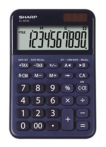 Sharp EL-M 335 rekenmachine met afgeschuinde weergave (zonne-/batterijvoeding) blauw
