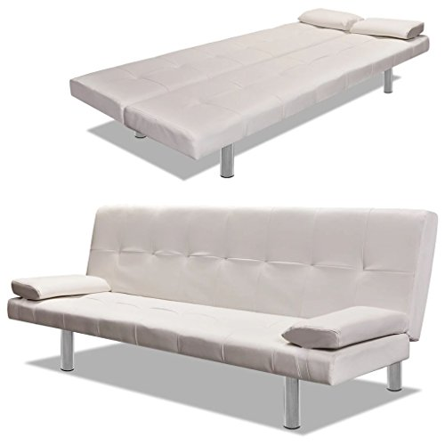 Festnight Modern Adjustable Sofa Bed Faux Leather Folding Recliner Couch with Two Removable Pillows for Living Room Home Office (White)
