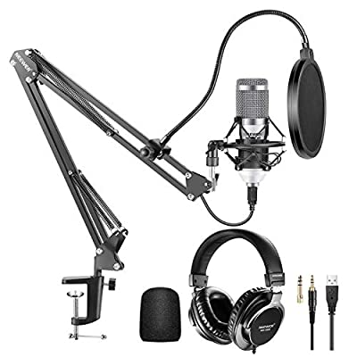 Neewer USB Microphone Kit 192KHz/24Bit Plug&Play Cardioid Condenser Mic (White) with Monitor Headphones, Foam Cap, Arm Stand and Shock Mount for Karaoke/YouTube/Gaming Record/Podcasts(NW-8000-USB)