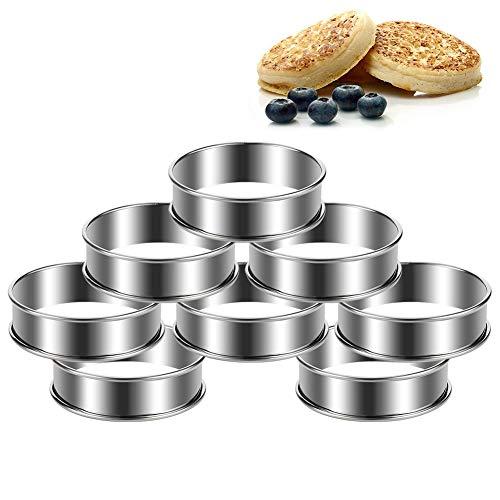 FANTESI 8 Stück Tortenring Backringe Kuchenring Crumpets Ringe Rund Edelstahl Silber für Kochen und Backen (8 x 2.5 cm)