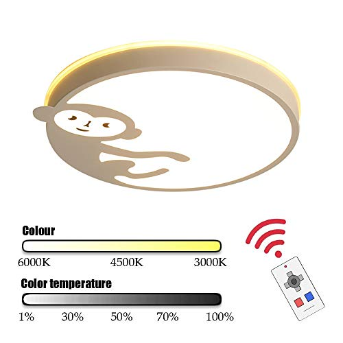 LED Modern Plafond Light Remote Control Ultradunne Ronde, Baby Boy Monkey Cartoon White Plafondlamp Decoration Verlichting Binnen Woonkamer Slaapkamer Dineren Study Chandelier Verduisteren