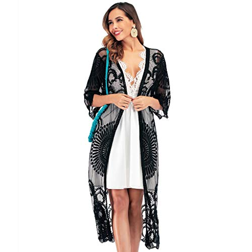 Kimono de Verano, Dragon868 Mujer Encajes Gasa Kimono Chaqueta de Punto para Camisa Playa Capa Bikini Cubren con Bordado Swimwear Beach Cover Ups Ropa de Playa para 2020 Primavera Otoño