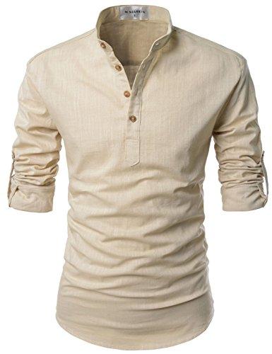 NEARKIN NKNKN350 Beloved Men Henley Neck Long Sleeve Daily Look Linen Shirts Beige US STag Size S