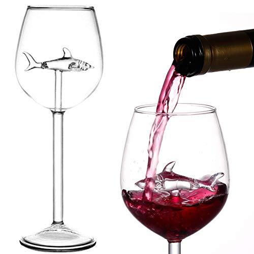 BSSN Copas de vino de tiburón,juego de 2 copas de vino tinto con tiburón en el interior,copas de cristal para flautas,regalo novedoso para adultos,bar en casa,fiesta,celebración navideña