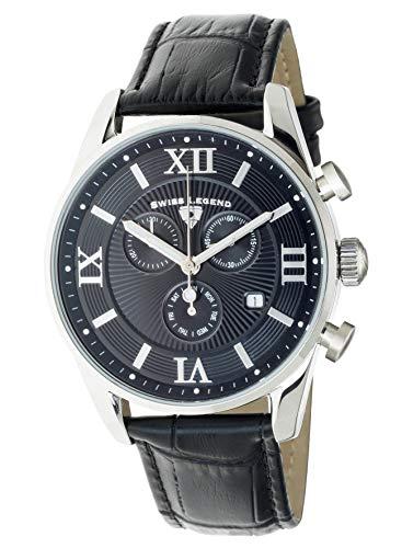 Swiss Legend 22011-01-BLK Herren-Armbanduhr Belleza Analog Schweizer Quarz schwarzes Zifferblatt und silberfarbenes Edelstahlgehäuse mit Lederarmband