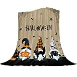 Singingin Gnome Blanket Super Soft Flannel Fleece Throw Blankets Halloween Bats Black Cat Blanket Lightweight Cozy Warm Fuzzy Plush Microfiber Blankets for Couch Bed Sofa 50x60inch