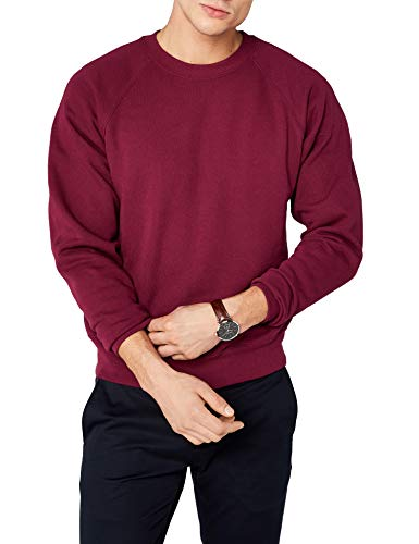 Fruit of the Loom Raglan Sweatshirt, Felpa Uomo, Rosso (Burgundy), XX-Large