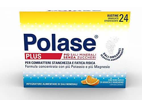 Polase Plus, Formula Concentrata, Integratore Alimentare di Potassio e Magnesio, Aiuto per Stanchezza e la Fatica Fisica, Ottimo per il periodo estivo, Senza Glutine, Arancia e Mandarino, 24 bustine