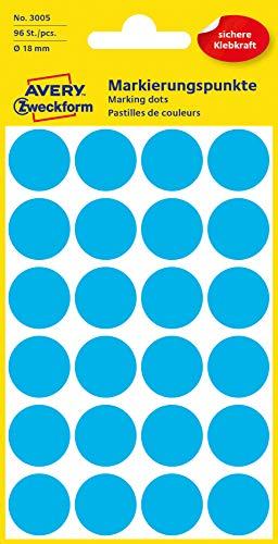 AVERY Zweckform 3005 selbstklebende Markierungspunkte (Ø 18 mm, 96 Klebepunkte auf 4 Bogen, runde Aufkleber für Kalender, Planer und zum Basteln, Papier, matt) blau