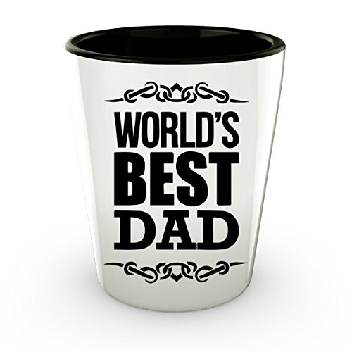 Shot Glasses Funny - Ceramic Fathers Day Shot - World s Best Dad Glass - Daddy Gifts (2)