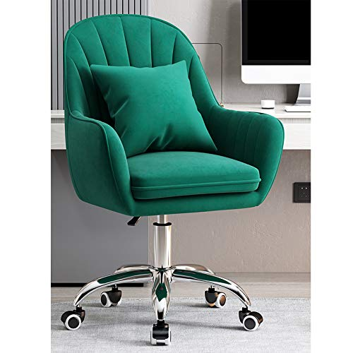 Home Office Chair Ergonomic Computer Chair Mid-back Desk Chair Cute Elegant Armchair,Upholstered Conference Reception Chair for Executive Living Bedroom,Velvet Swivel Chair-Green 55x80-90cm(21.6x31-35