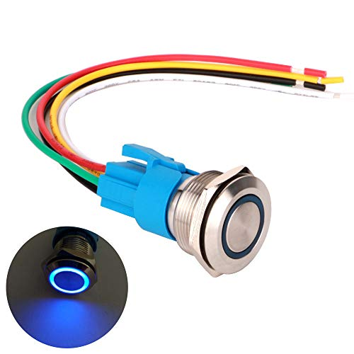 Gebildet 22mm Momentáneo Pulsador de Botón Acero Inoxidable, Impermeable ON/Off 220V 5A LED 1NO1NC SPDT Pulsador con Enchufe de Cable(LED Azul)+Instrucciones de Instalación