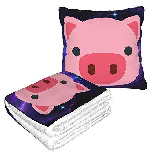 Manta suave 2 en 1 con cara de cerdo, manta de forro polar, para sofá, cama, sofá, oficina, para hombres y niñas