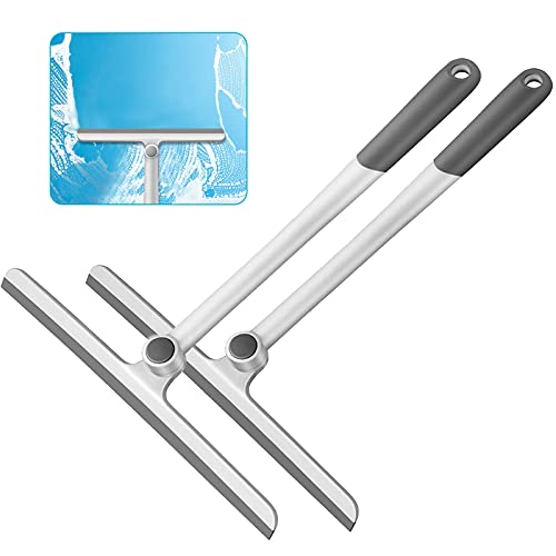 Shower Squeegee for Shower Doors, Shower Squeegee for Glass Doors, Bathroom, Mirrors, Windows Cars and Tile Walls, Silicone Handle Shower Squeegee 12 Inch (Grey,2 Pack)