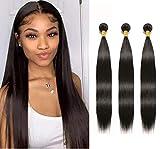 NUOF 8A Straight Human Hair Bundles Virgin Brazilian Hair 3 Bundles (16/18/20 inch) Straight Hair Weave Bundles 100% Unprocessed Remy Peruvian Straight Human Hair Extensions