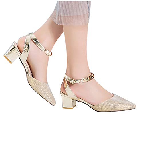 For Sale! Sunhusing Chunky Heel Sandals Ladies Elegant Pure Color Square Heel Pointed Toe Casual San...