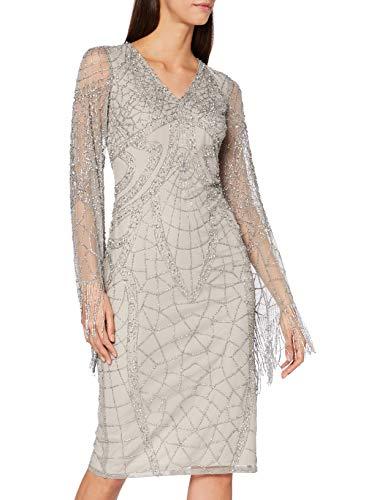 Frock and Frill Damen Karrisa Embellished Midi Dress Formales Abendkleid, Tan/Silver, X-Small