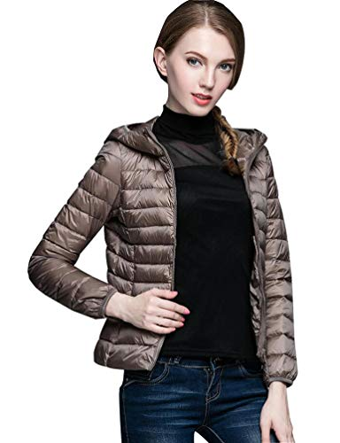 Fuxiang Dünne Daunenjacke Damen Daunen Leichte Steppjacke Mit Kapuze Frauen Ultraleichte Steppmantel Leicht Kurz Winterjacken Daunenmantel Herbst Mantel Light Wintermantel Softdaunenjacke Khaki 2XL